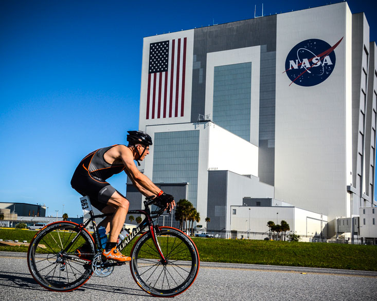Me at the Rocketman tri on Kennedy Space Center in Florida.