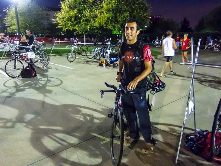 Fred's hardcore. I think he does ever single tri event in the area.