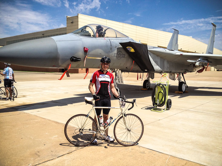 Posing in 2012 w/my 1985 Giant about 10 mi from the end of my 100k ride.