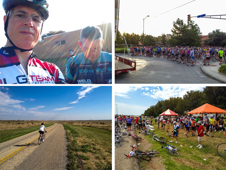 The 2012 HHH, clockwise from top left: Kerry and me at rest stop 1, before the start, on the road, rest stop at ~mile 55.