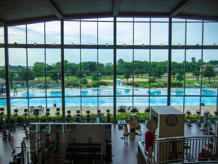 Cooper's 50m outdoor pool, and a seriously nice gym with a view.