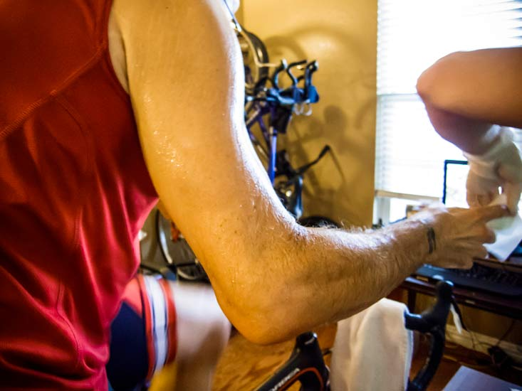 Even with a fan, bike trainers are sweat factories.