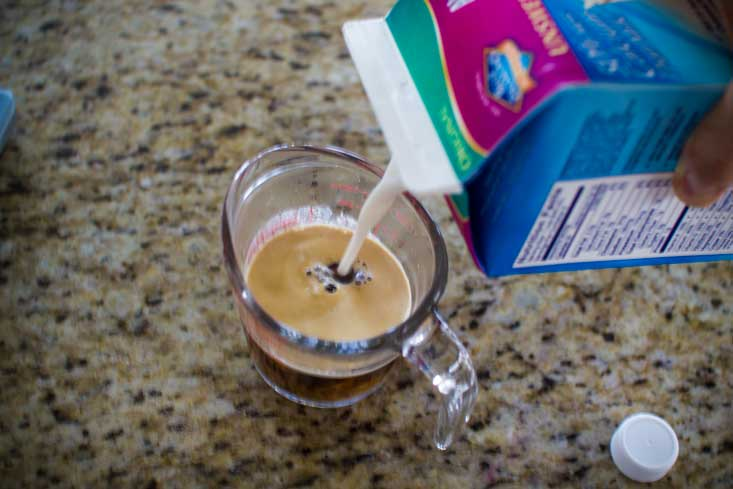 Adding the cold milk to the hot espresso keeps the espresso from melting the ice before you blend.