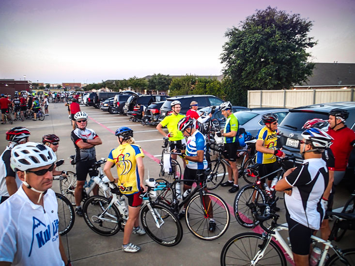 """""""My"""" group is in the foreground with approximately 10 other groups getting ready to head out."""