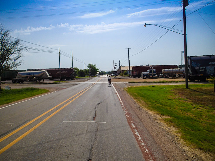 Teri, passing through a flat, forgettable town -- essential Texas.