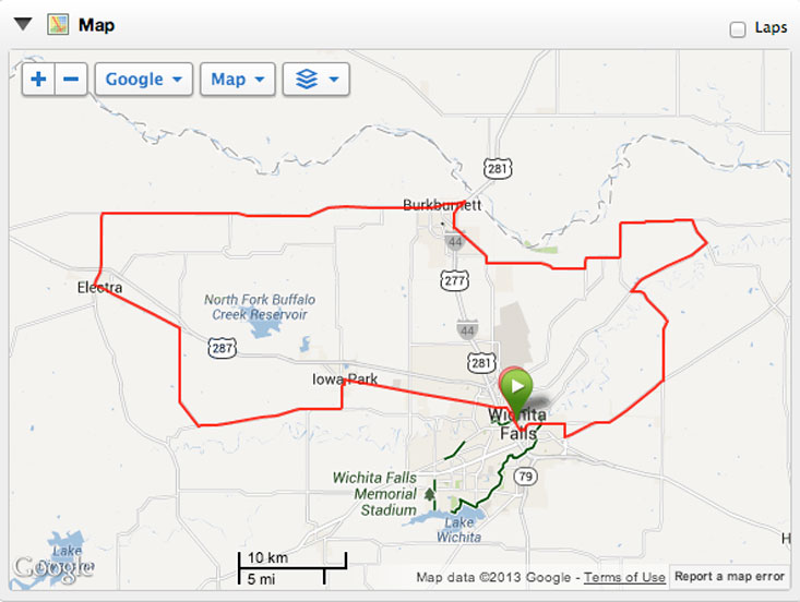 The HHH 100-mile route (according to my Garmin 800).