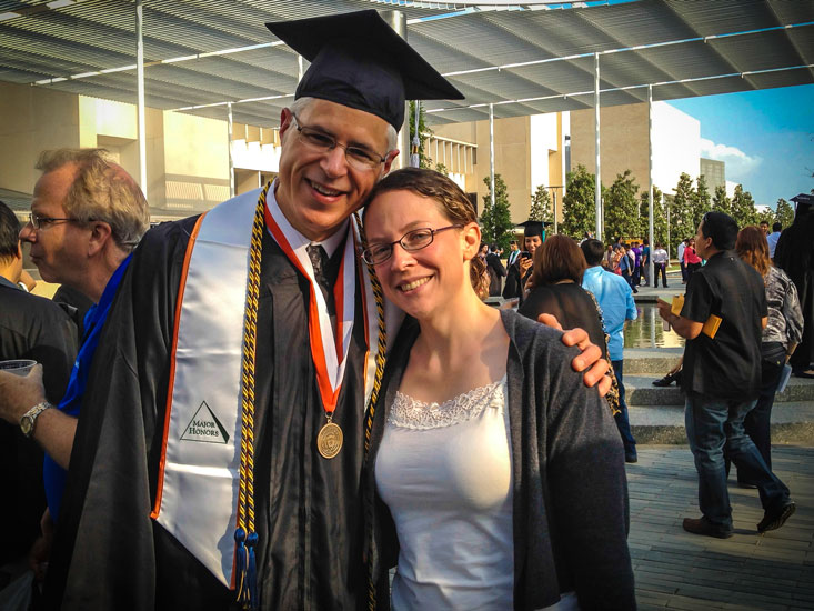 Me, a happy graduate with Audra, without whom none of this would be possible. (My diploma arrived in the mail last week.)