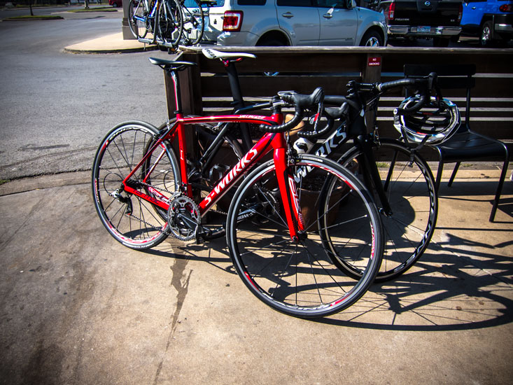 It's not unusual to see $10,000 worth of bikes anywhere you look. Note power meter worth more than my bike.