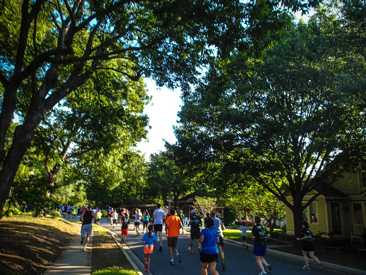 One turn later, we ran through a nice older neighborhood under this beautiful tree cover.
