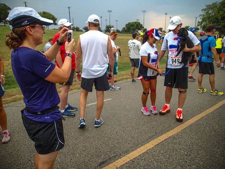 While waiting for the start, Audra took pictures for a nice running couple.
