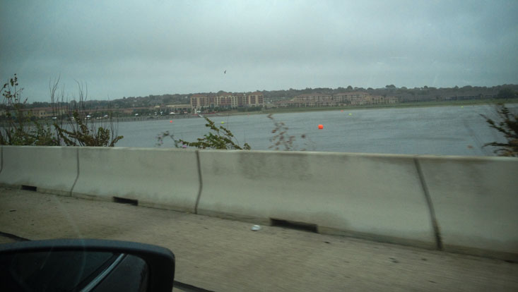 The swim course, as seen from the highway the day before the race.