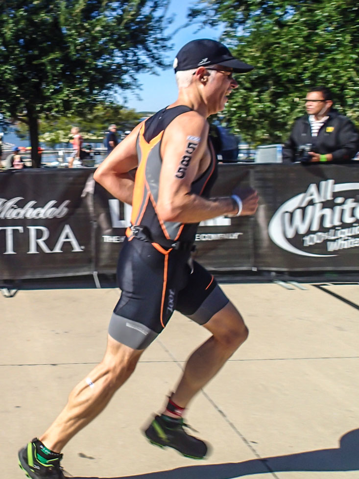 About 20' from the finish. Very pleased with recent improvements in my run form!
